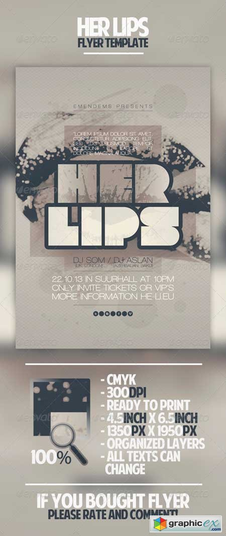 Her Lips Flyer Template