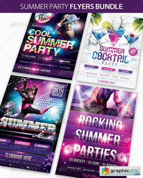 Summer Party Flyers Bundle