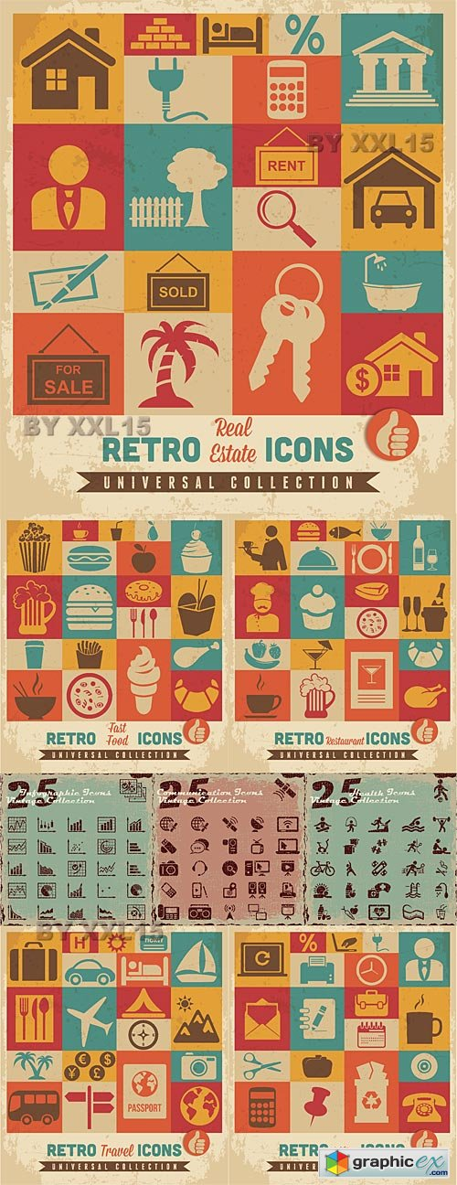 Retro universal icons set 2