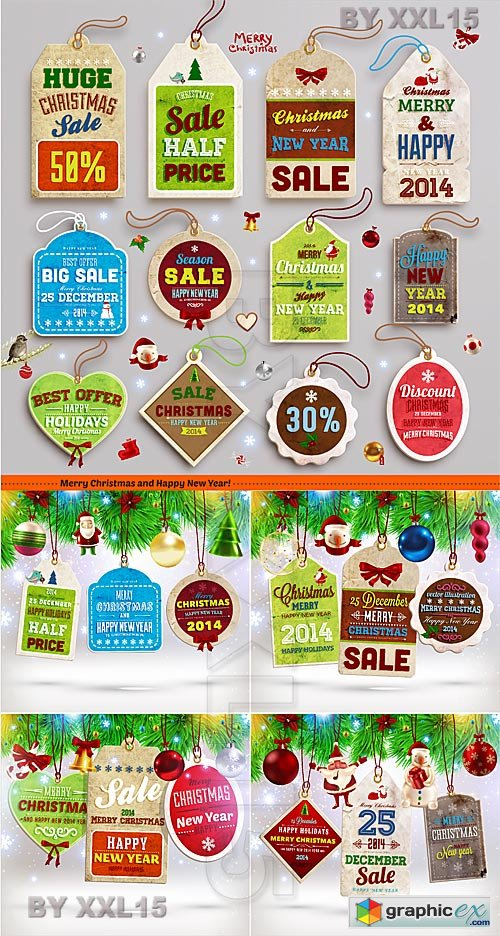 Vector Vintage Christmas labels and tags