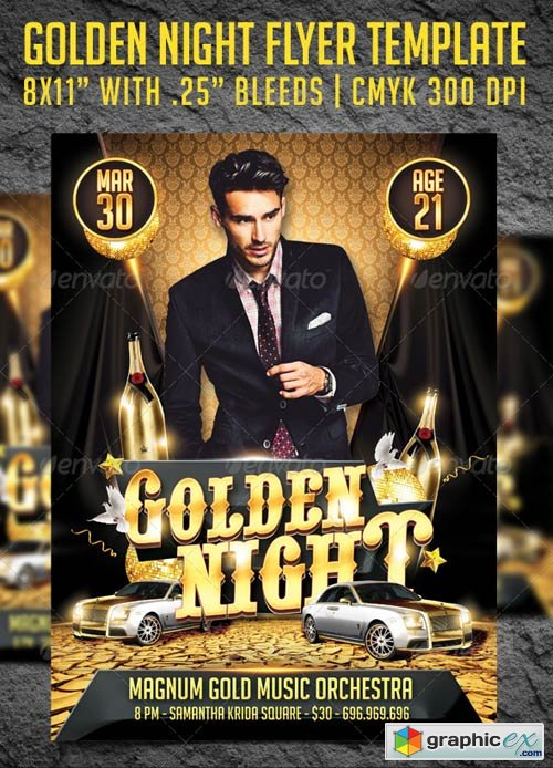 Golden Night Party Flyer Template 3982003