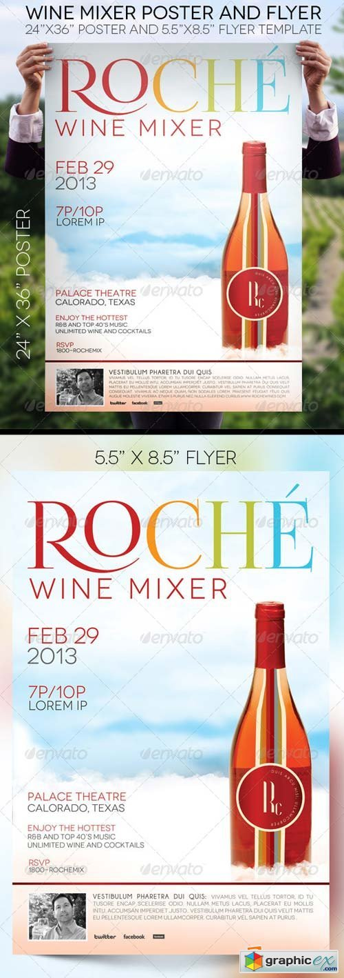 Wine Mixer Poster and Flyer
