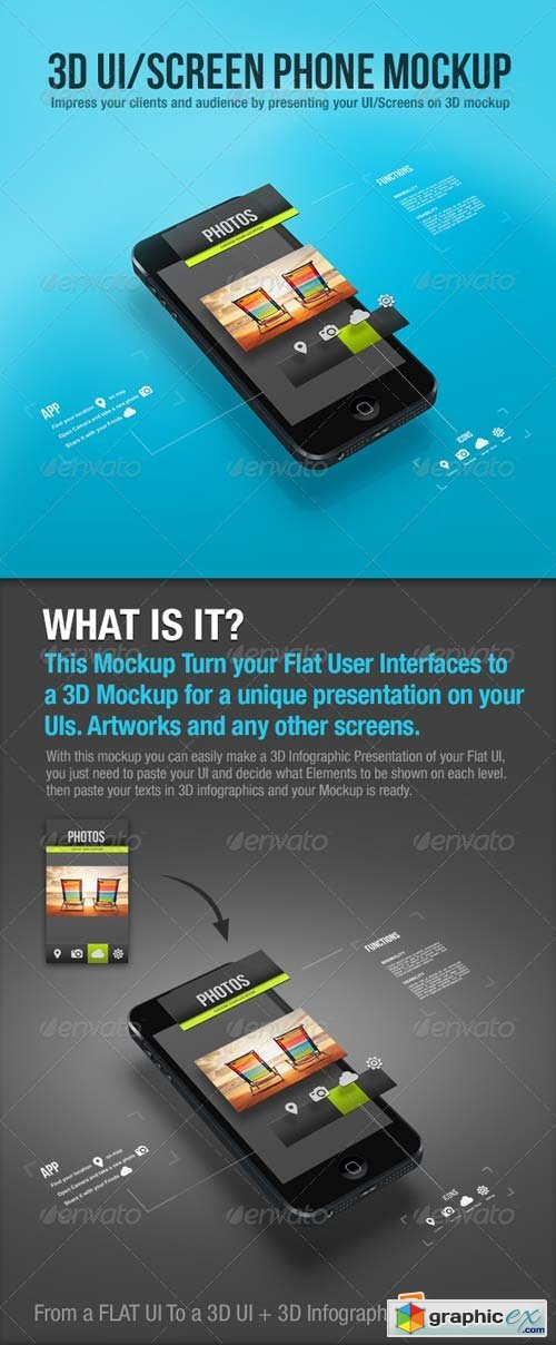 3D UI/Screen Phone Mockup Template