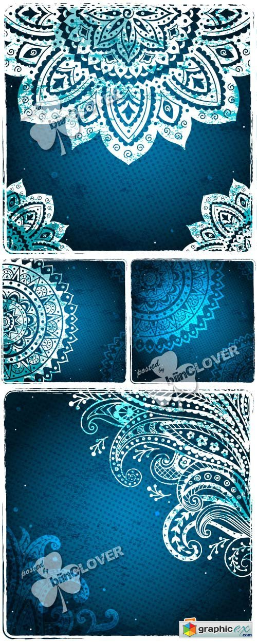 Vector Blue lace ornamental background 0367