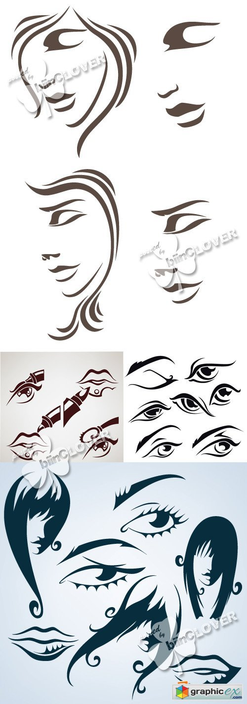 Vector Collection of women's faces, lips and eyes 0366