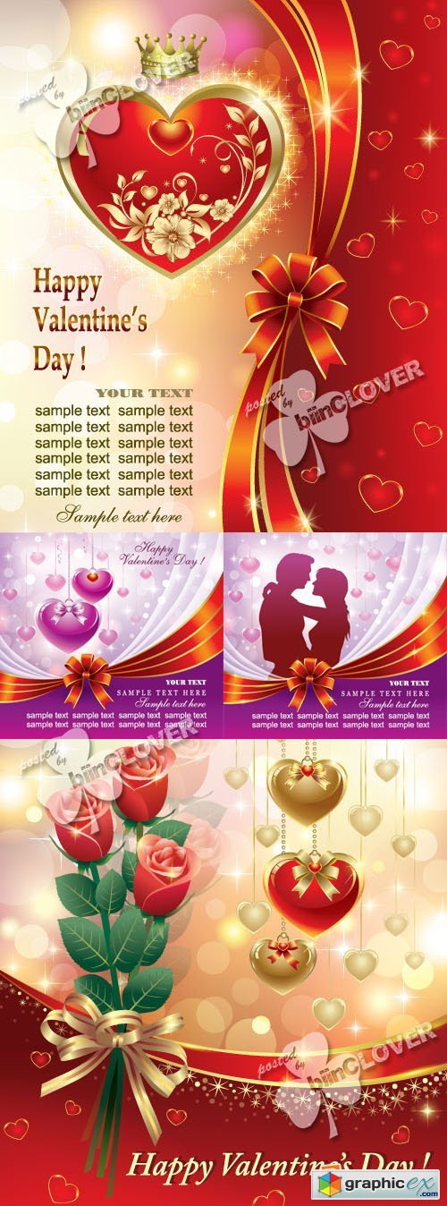 Vector Luxury Valentines Day cards 0357
