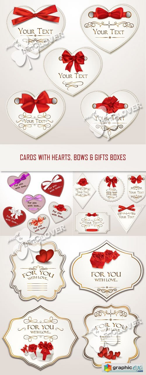 Vector Cards with hearts, bows and gift boxes 0352
