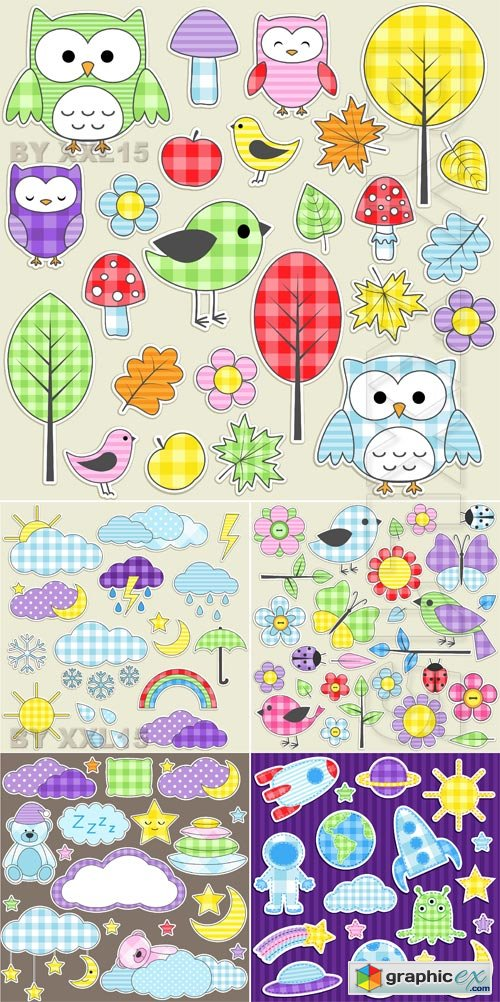 Vector Cute textile stickers