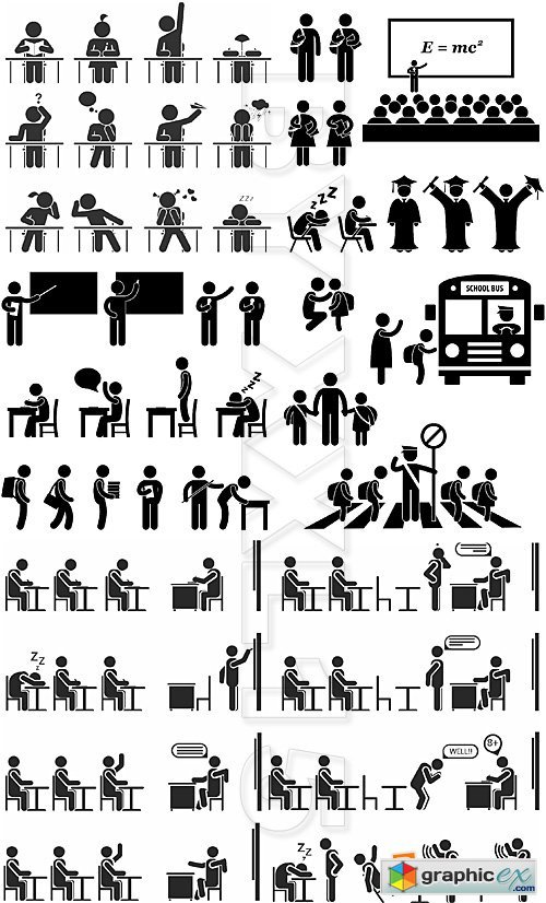 Vector People pictograms 6-Education