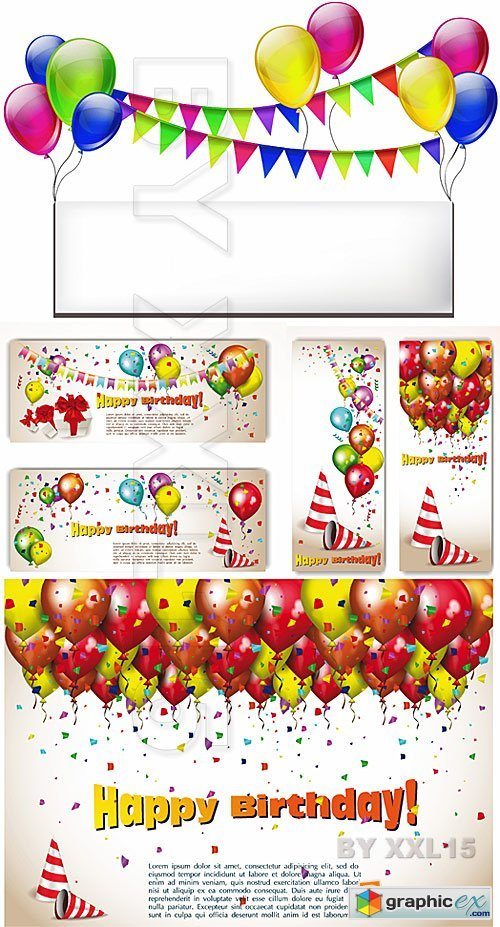 Vector Birthday banner with balloons