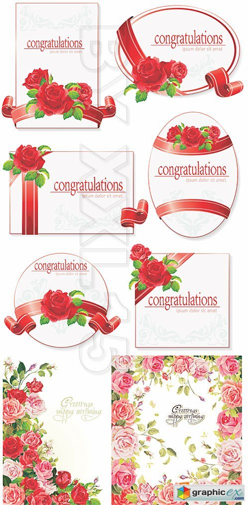 Vector Greeting cards with roses