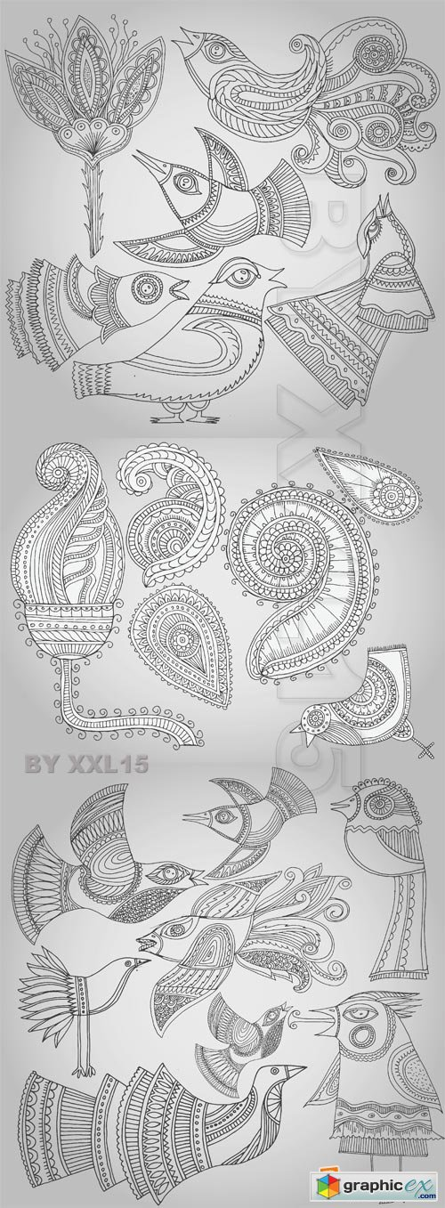 Vector Fantastic birds and flowers in folk style