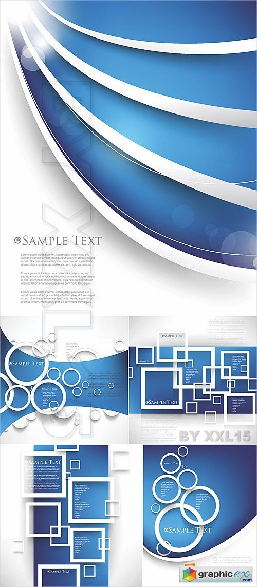 Vector Blue abstract backgrounds with circles and squares