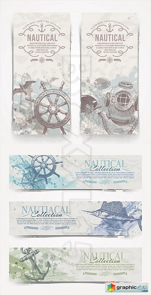 Vector Nautical vintage banners