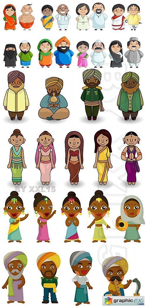 Vector Cartoon indian people icons