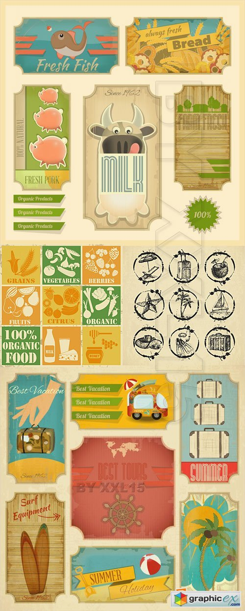 Vector Vintage food and travel labels