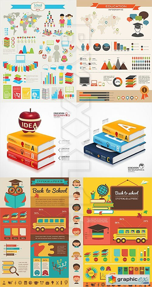 Vector School and education infographics