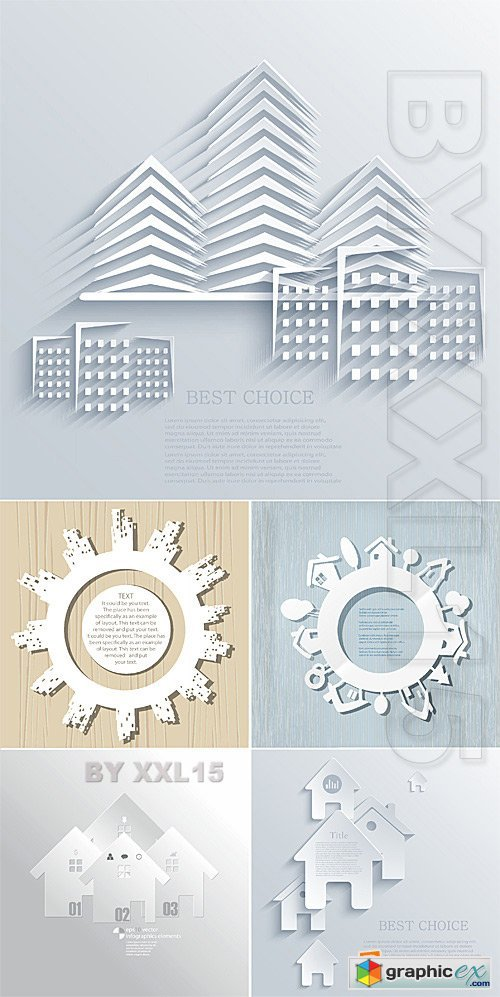 Vector Paper buildings 2 » Free Download Vector Stock Image