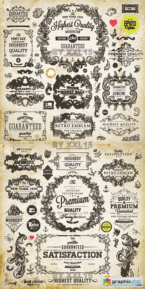 Vector Calligraphic design elements and page decorations 3
