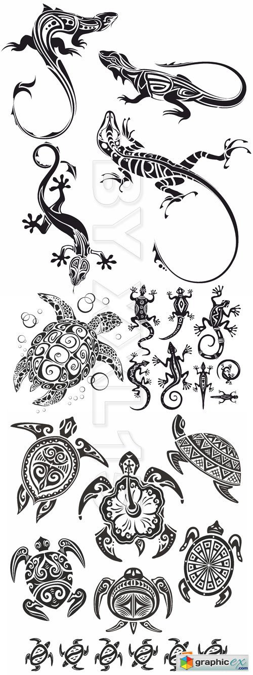 Vector Decorative lizards and turtles