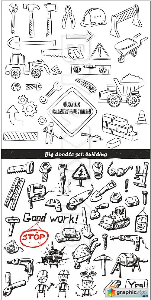 Vector Hand drawn construction tools