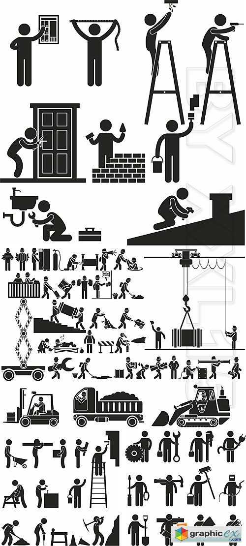 Vector People figures pictograms 5 - Construction and repair