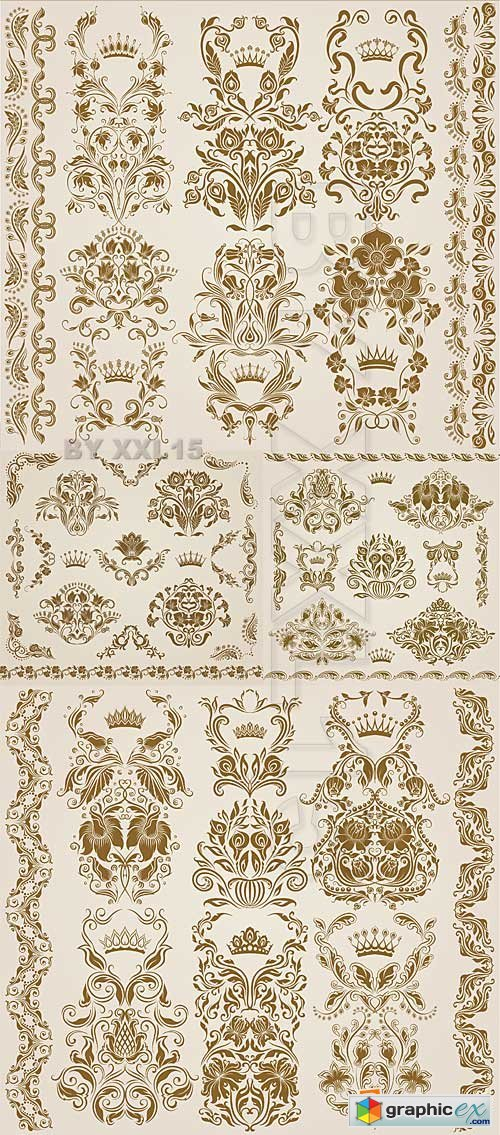Vector Vintage floral decorative elements