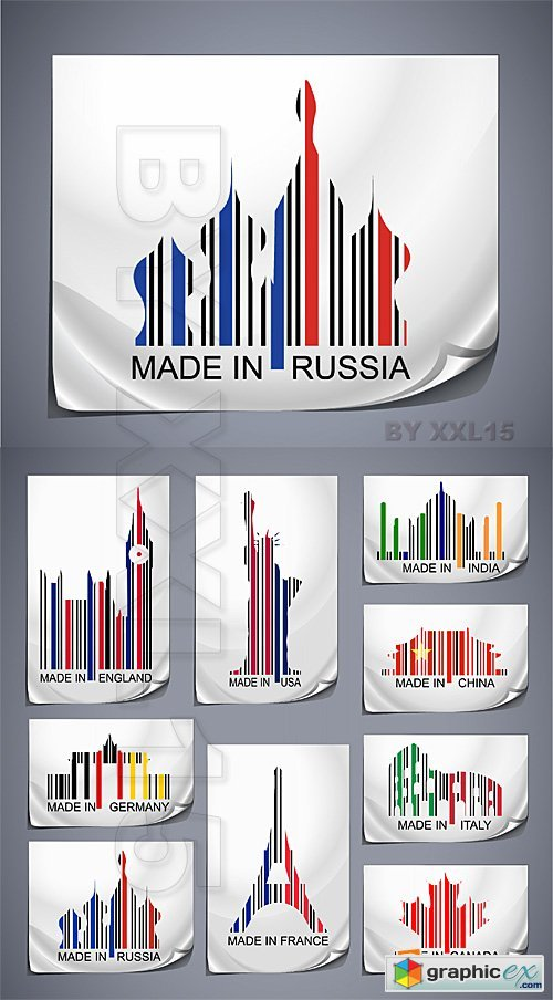 Vector Made in the country - colored barcodes