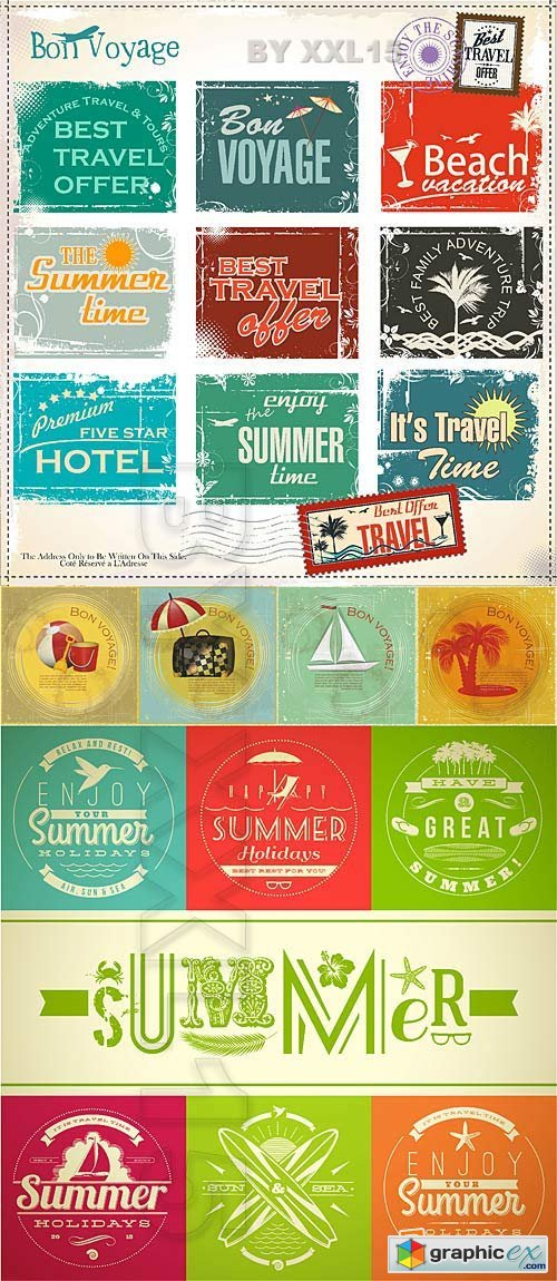 Vector Vintage summer travel cards