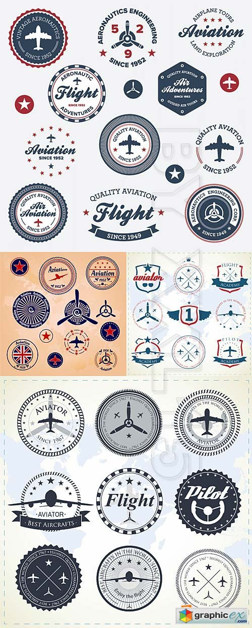 Vector Aviation badges and labels