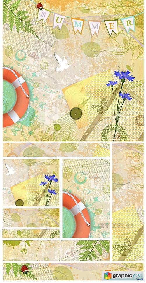 Vector Summer vintage banners and backgrounds