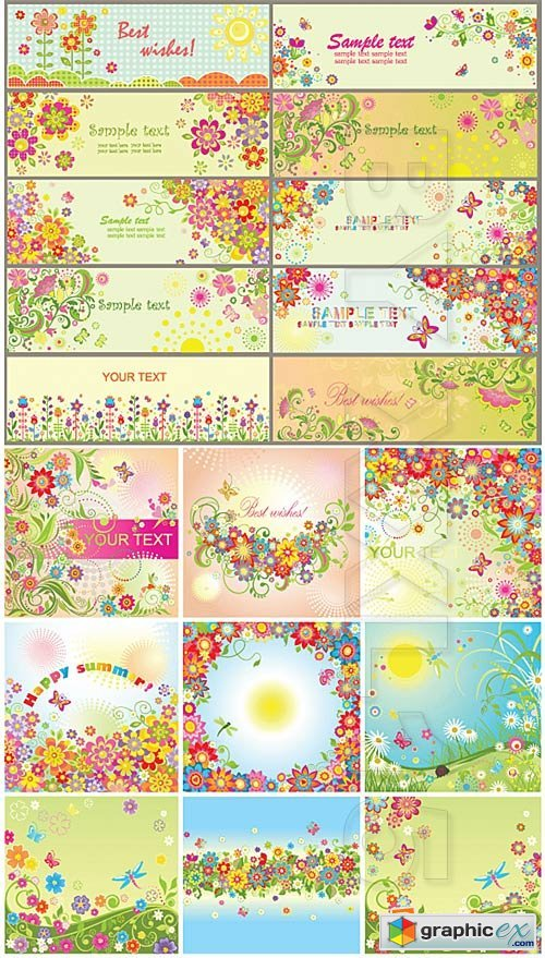Vector Summer floral cards