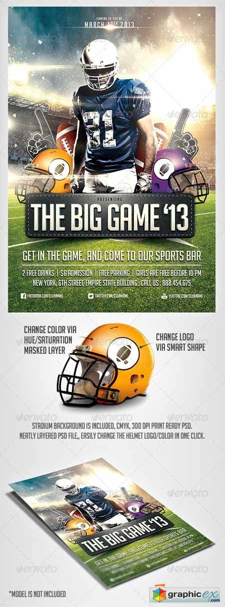 Big Game Football Flyer Templates Free Download Vector Stock Image