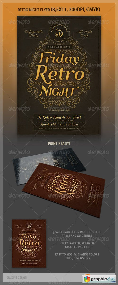 Typographic Retro Flyer Templates