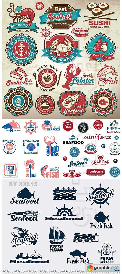 Vector Seafood restaurant labels
