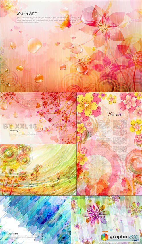 Vector Abstract backgrounds with flowers