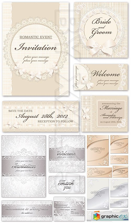 Vector Beige and silver invitations