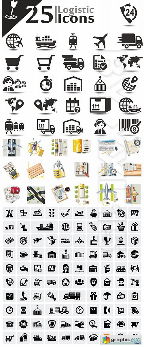 Vector Logistic and shipping icons