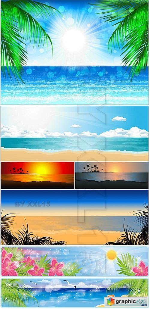 Vector Sea backgrounds with palms