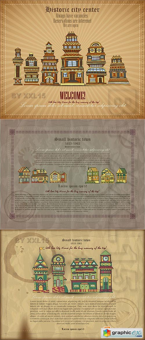 Vector Vintage backgrounds with historic town