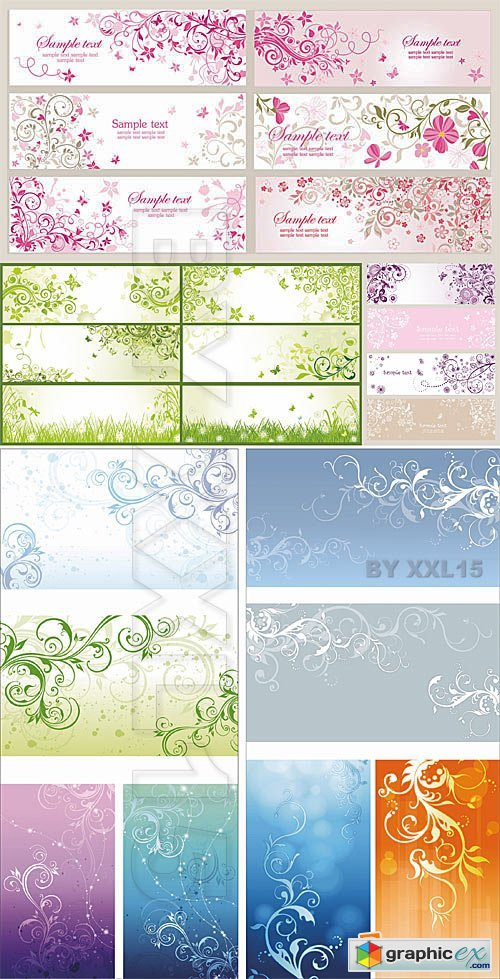 Vector Floral banners with swirls