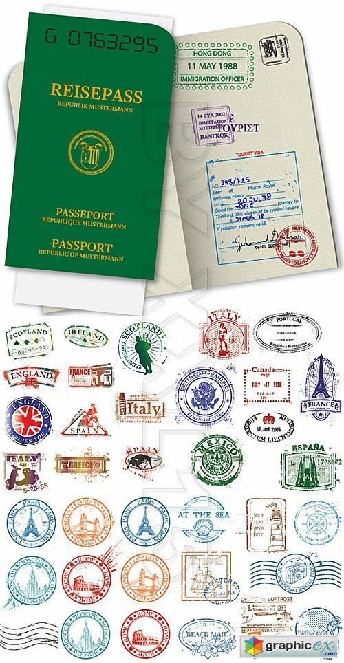 Vector Passport and stamps