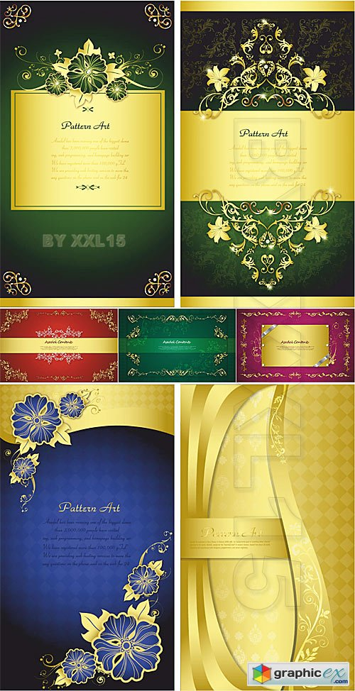 Vector Gold floral backgrounds