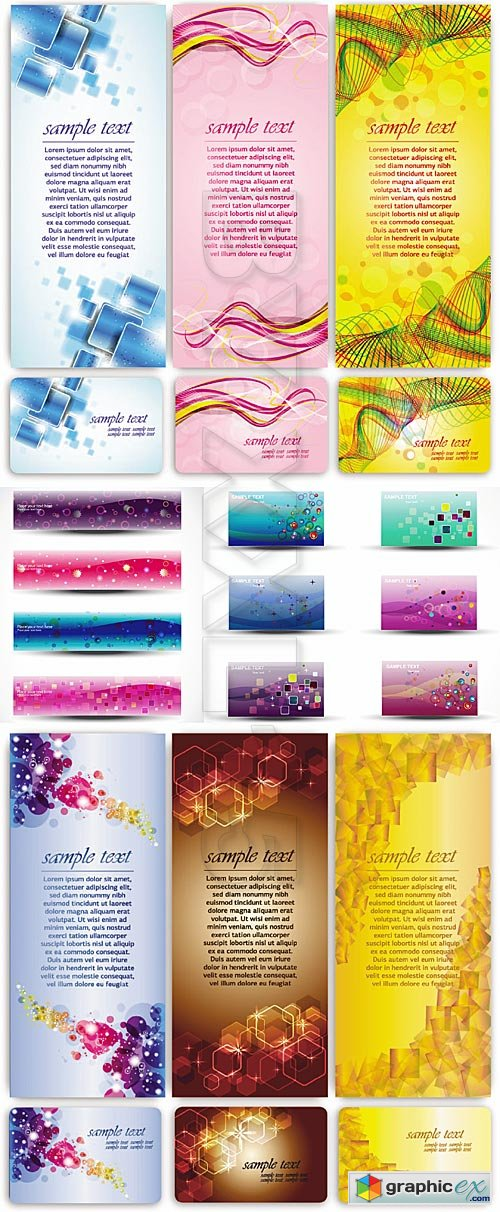 Vector Colorful banners and cards
