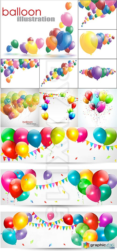 Vector Colorful balloons illustrations