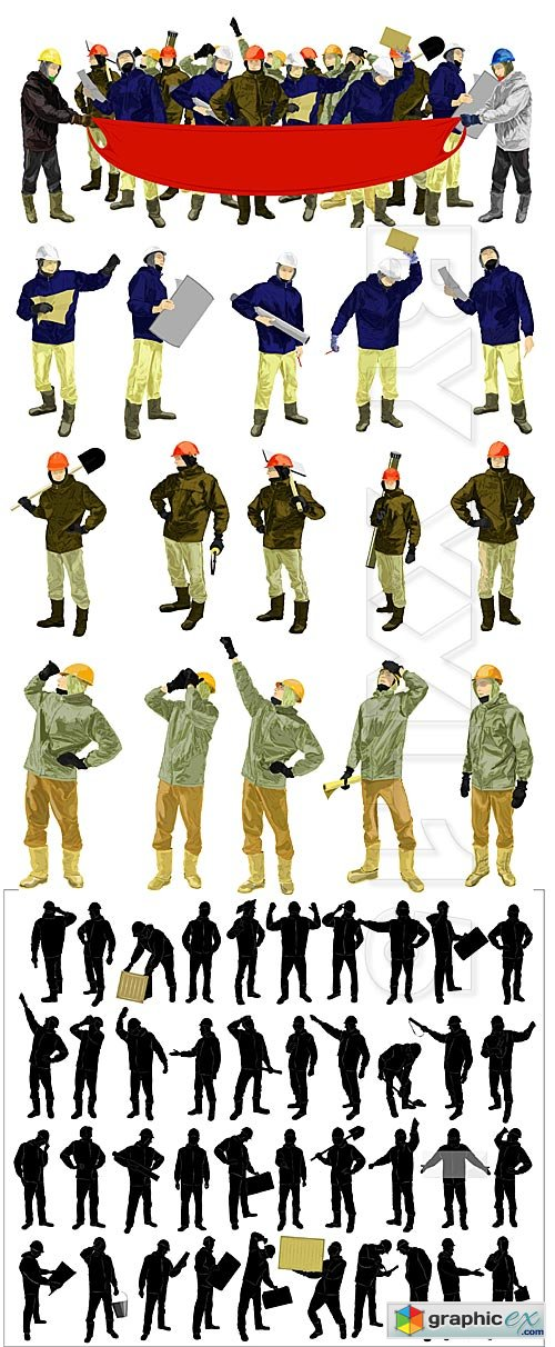 Vector Silhouettes of workers