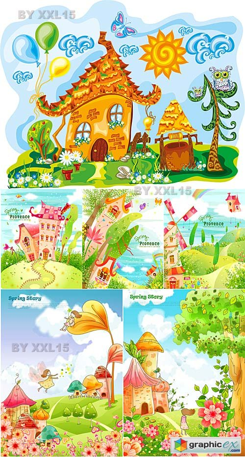 Vector Fairy houses