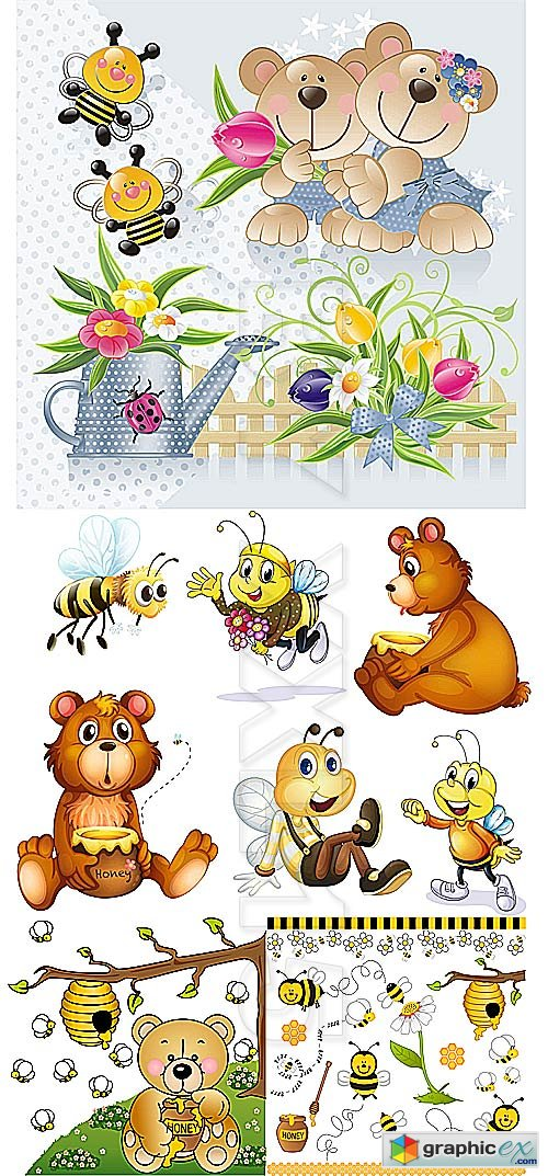 Vector Cute bears and bees