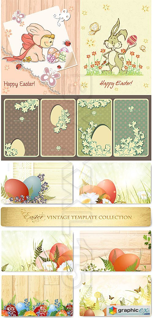 Vector Easter vintage templates