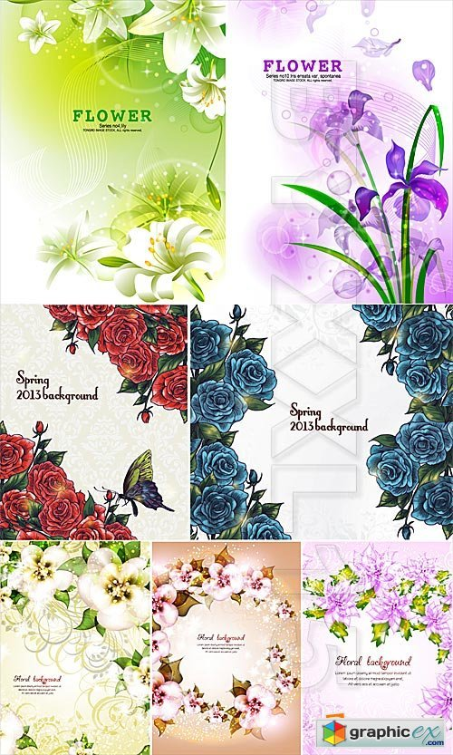 Vector Spring floral backgrounds 2